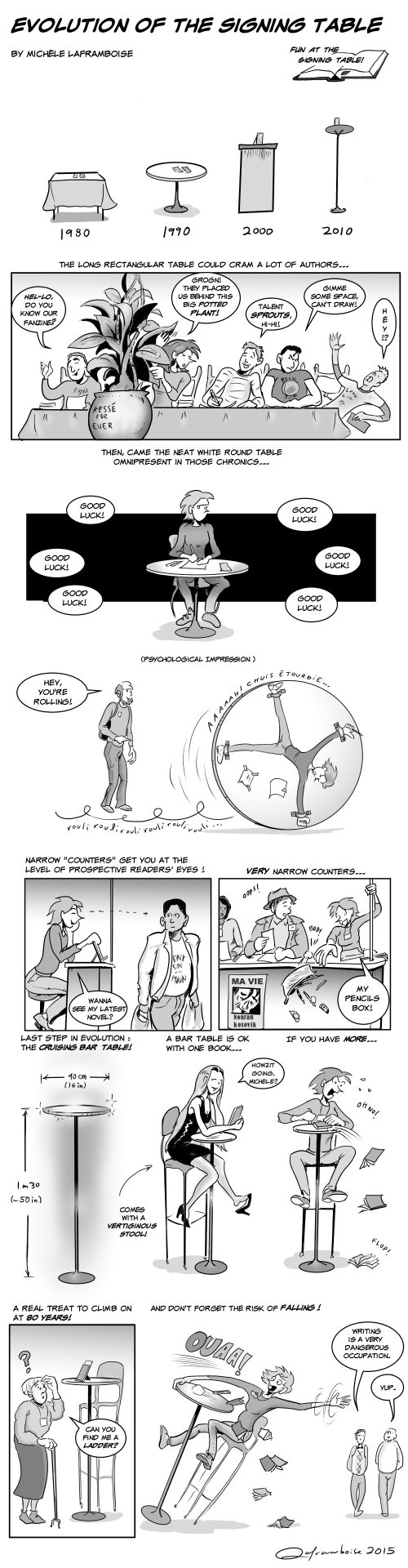 Evolution of the Signing Table  - Story and art by Michele Laframboise