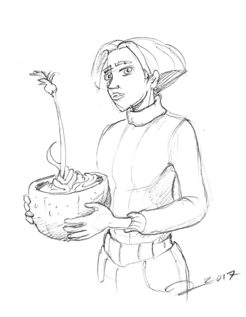 Young Armelle holding a flower pot